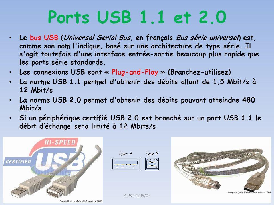 Ports USB 1.1 et 2.0 Le bus USB (Universal Serial Bus, en français Bus série universel) est, comme son nom l'indique, basé sur une architecture de typ