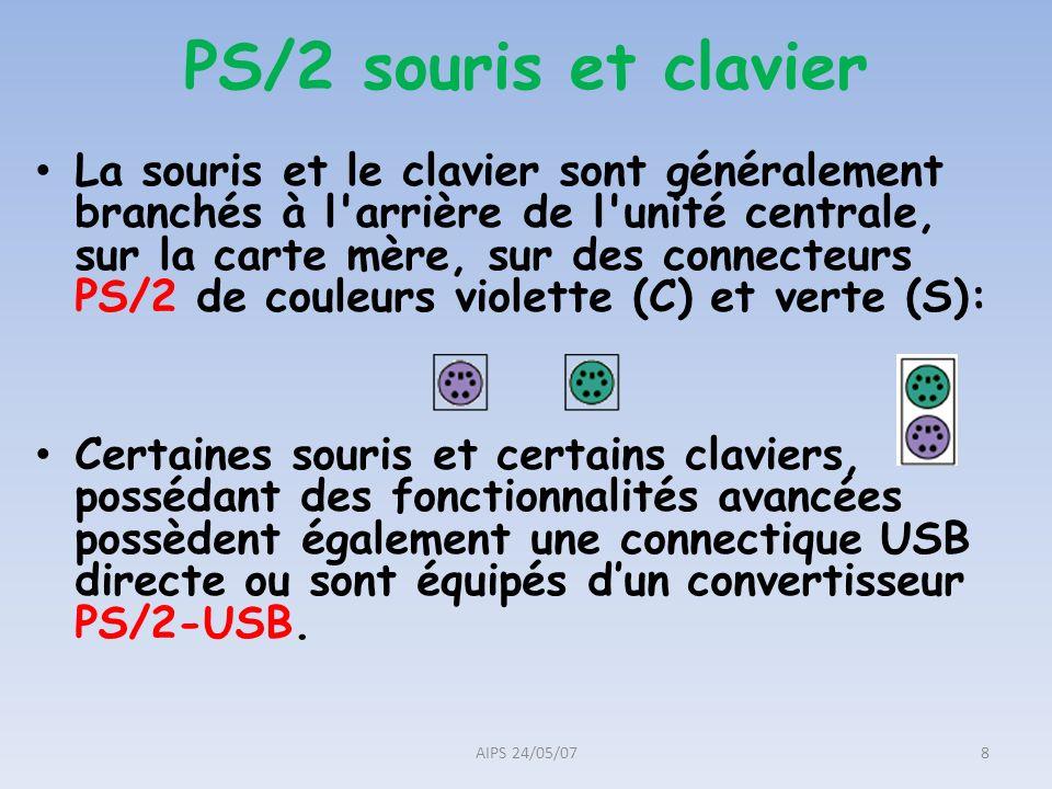 PS/2 souris et clavier La souris et le clavier sont généralement branchés à l'arrière de l'unité centrale, sur la carte mère, sur des connecteurs PS/2