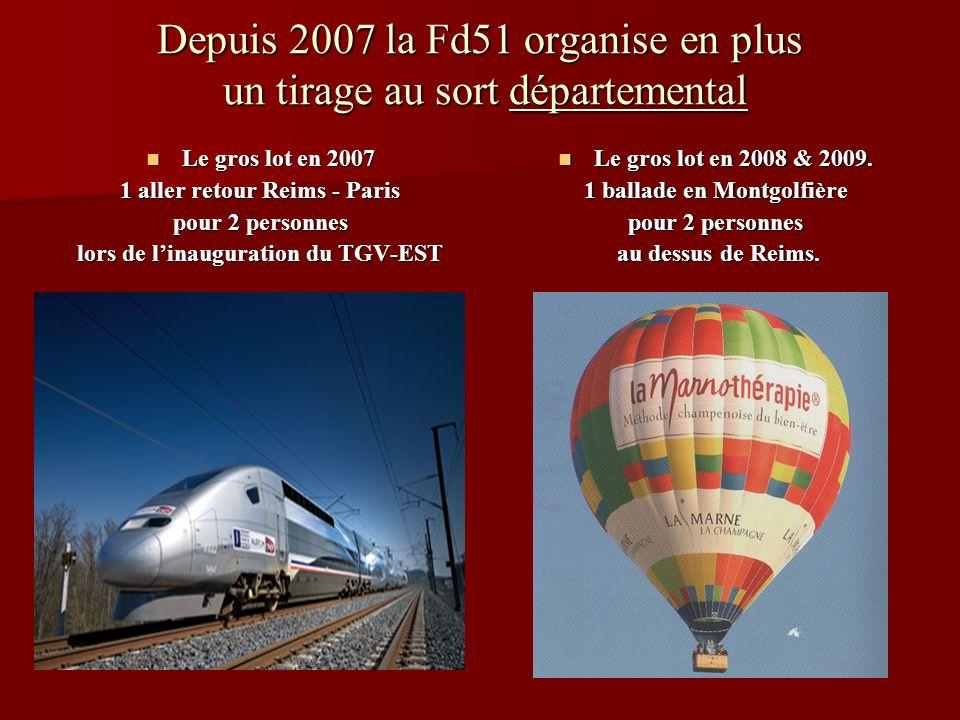 Depuis 2007 la Fd51 organise en plus un tirage au sort départemental Le gros lot en 2007 Le gros lot en 2007 1 aller retour Reims - Paris pour 2 personnes lors de linauguration du TGV-EST Le gros lot en 2008 & 2009.