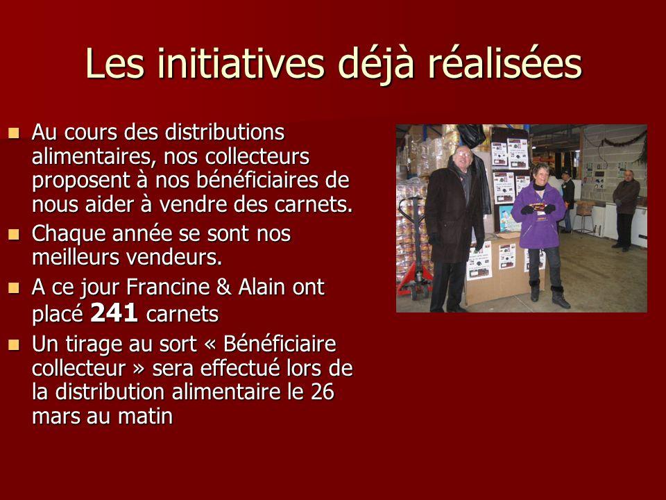 Les initiatives déjà réalisées Au cours des distributions alimentaires, nos collecteurs proposent à nos bénéficiaires de nous aider à vendre des carnets.