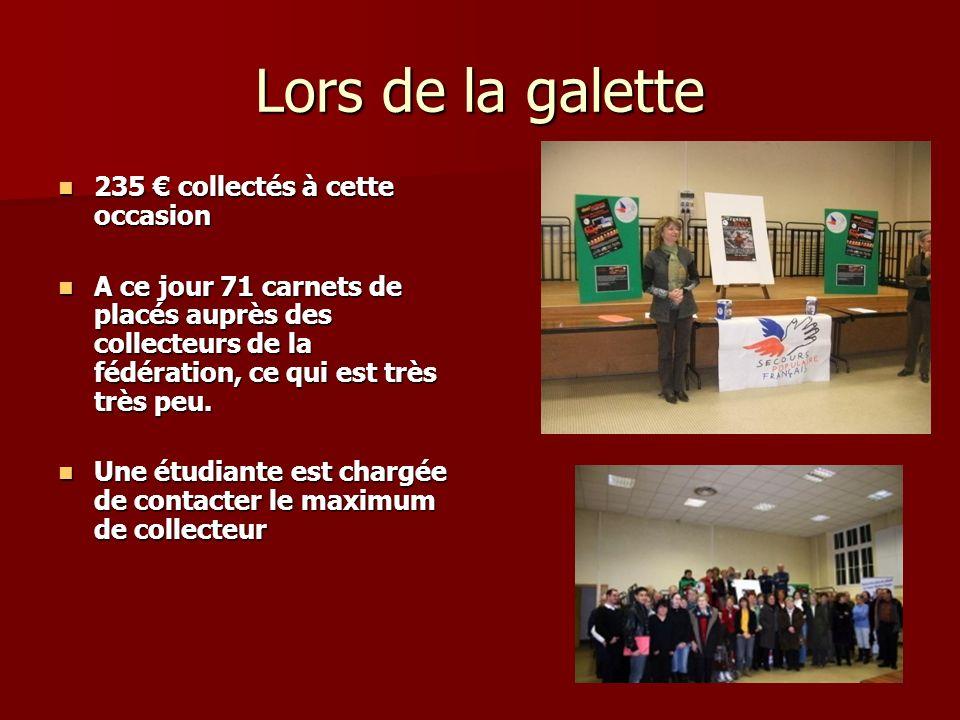Lors de la galette 235 collectés à cette occasion 235 collectés à cette occasion A ce jour 71 carnets de placés auprès des collecteurs de la fédération, ce qui est très très peu.
