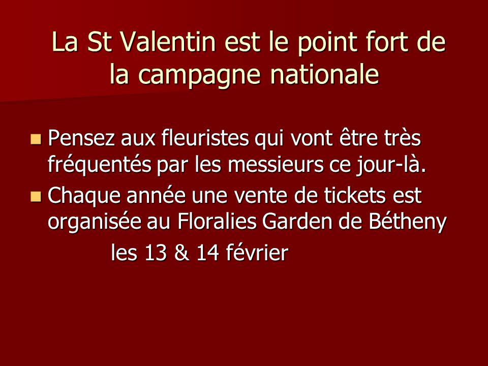 La St Valentin est le point fort de la campagne nationale La St Valentin est le point fort de la campagne nationale Pensez aux fleuristes qui vont être très fréquentés par les messieurs ce jour-là.