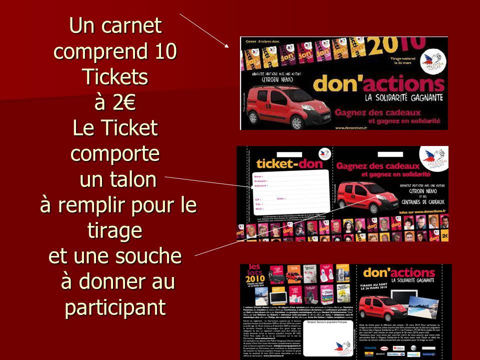 Un carnet comprend 10 Tickets à 2 Le Ticket comporte un talon à remplir pour le tirage et une souche à donner au participant