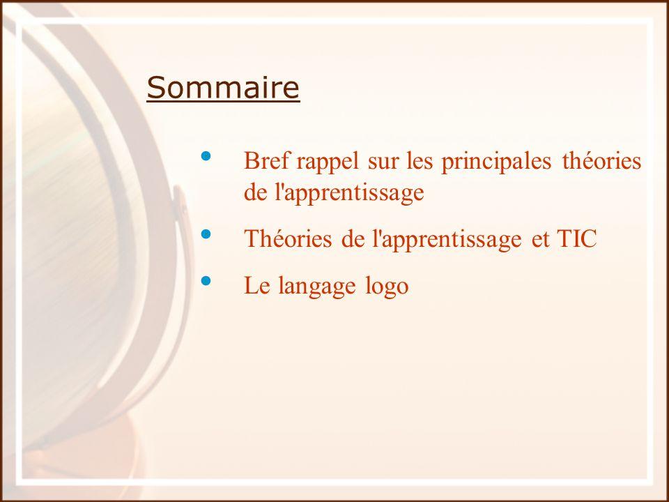 Sommaire Bref rappel sur les principales théories de l'apprentissage Théories de l'apprentissage et TIC Le langage logo