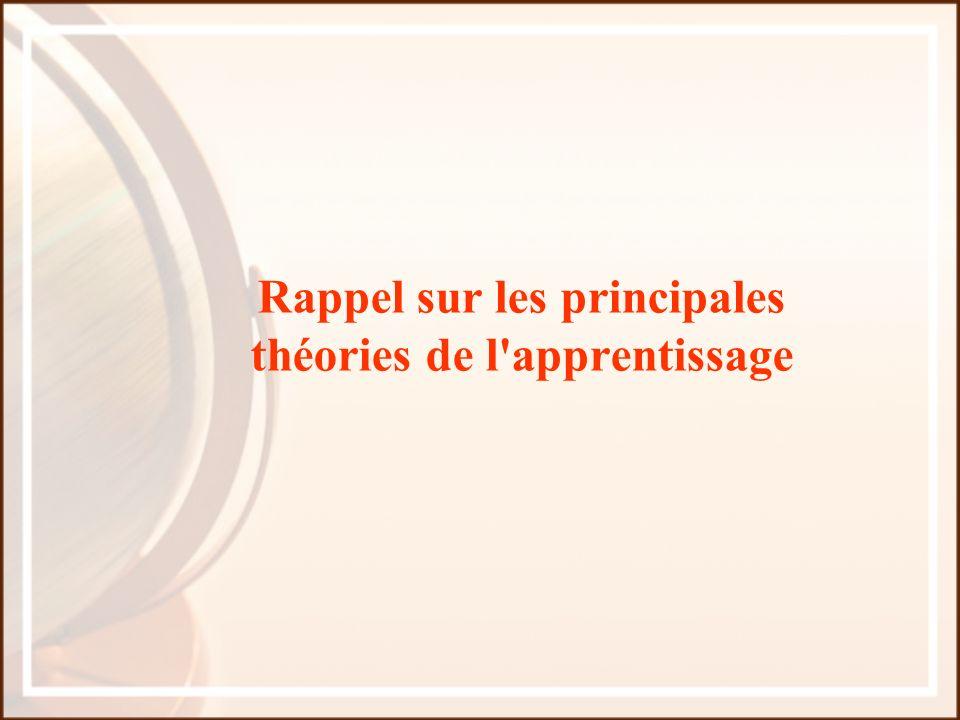 Rappel sur les principales théories de l'apprentissage