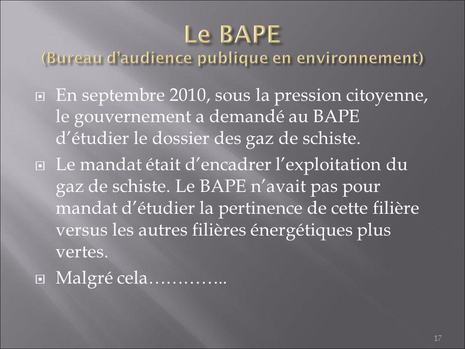 En septembre 2010, sous la pression citoyenne, le gouvernement a demandé au BAPE détudier le dossier des gaz de schiste. Le mandat était dencadrer lex