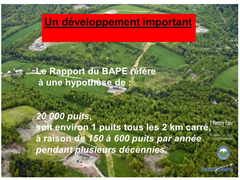 24 Un développement important Le Rapport du BAPE réfère à une hypothèse de : 20 000 puits, soit environ 1 puits tous les 2 km carré, à raison de 150 à