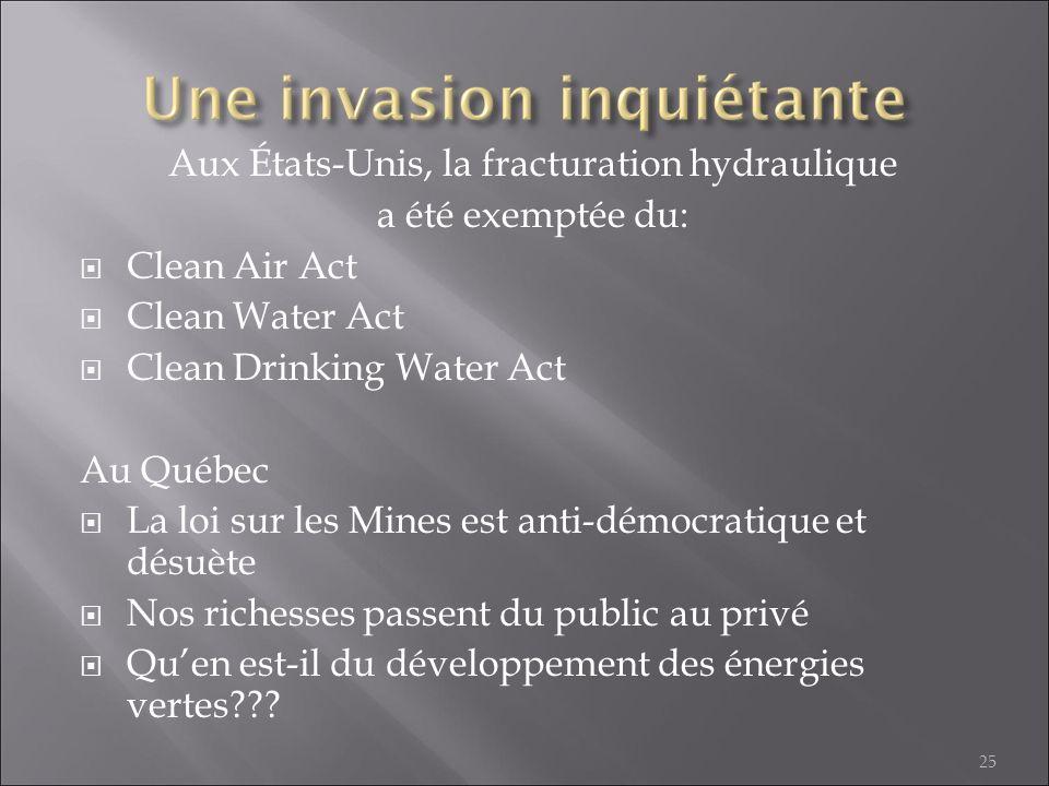 Aux États-Unis, la fracturation hydraulique a été exemptée du: Clean Air Act Clean Water Act Clean Drinking Water Act Au Québec La loi sur les Mines e