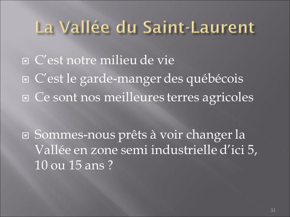 Cest notre milieu de vie Cest le garde-manger des québécois Ce sont nos meilleures terres agricoles Sommes-nous prêts à voir changer la Vallée en zone