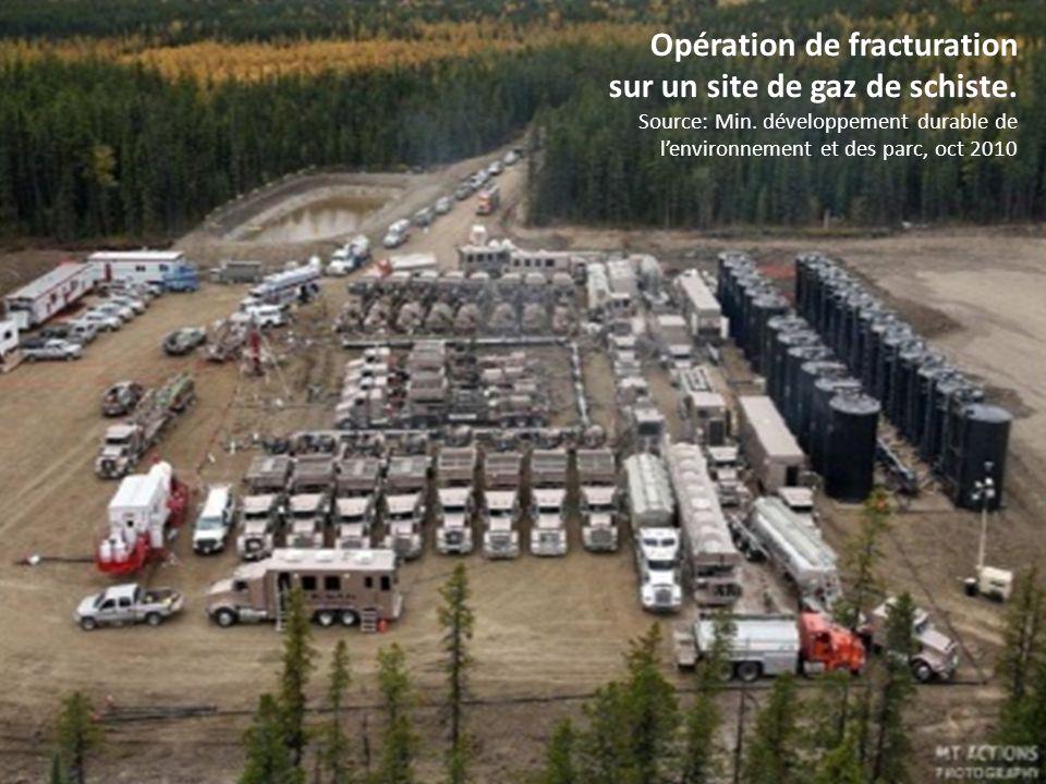 Opération de fracturation sur un site de gaz de schiste. Source: Min. développement durable de lenvironnement et des parc, oct 2010