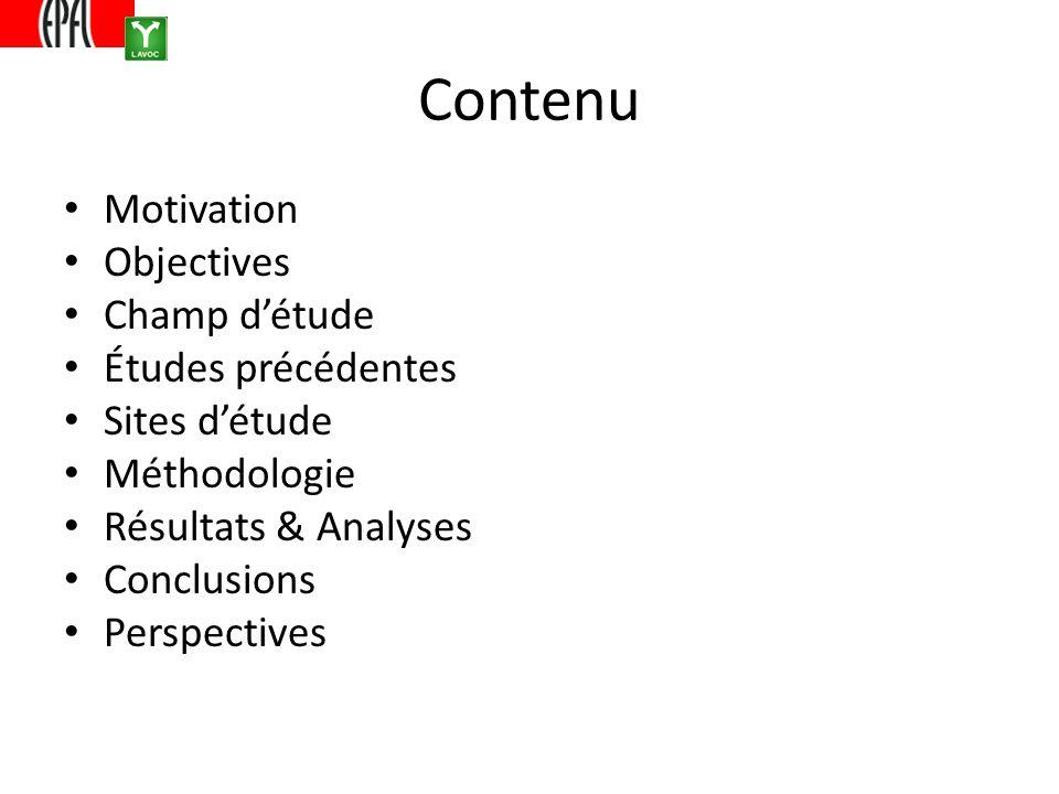Contenu Motivation Objectives Champ détude Études précédentes Sites détude Méthodologie Résultats & Analyses Conclusions Perspectives