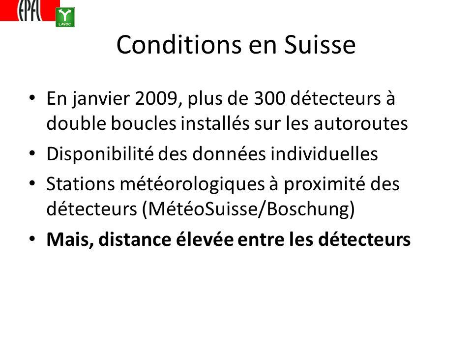 Conditions en Suisse En janvier 2009, plus de 300 détecteurs à double boucles installés sur les autoroutes Disponibilité des données individuelles Stations météorologiques à proximité des détecteurs (MétéoSuisse/Boschung) Mais, distance élevée entre les détecteurs