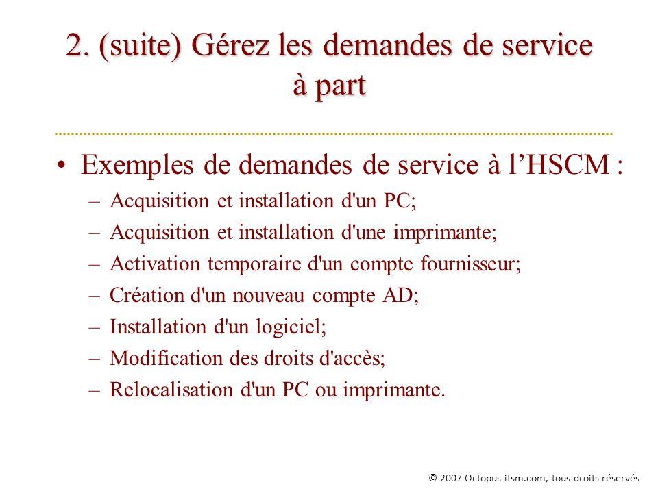 2. (suite) Gérez les demandes de service à part Exemples de demandes de service à lHSCM : –Acquisition et installation d'un PC; –Acquisition et instal