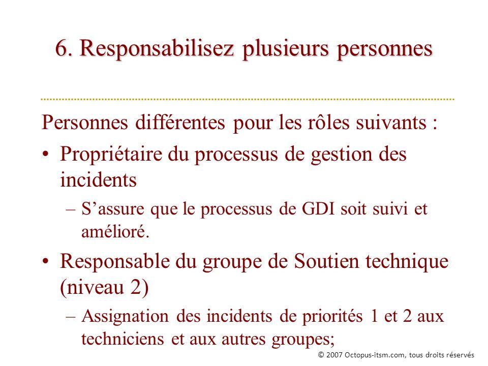 6. Responsabilisez plusieurs personnes Personnes différentes pour les rôles suivants : Propriétaire du processus de gestion des incidents –Sassure que