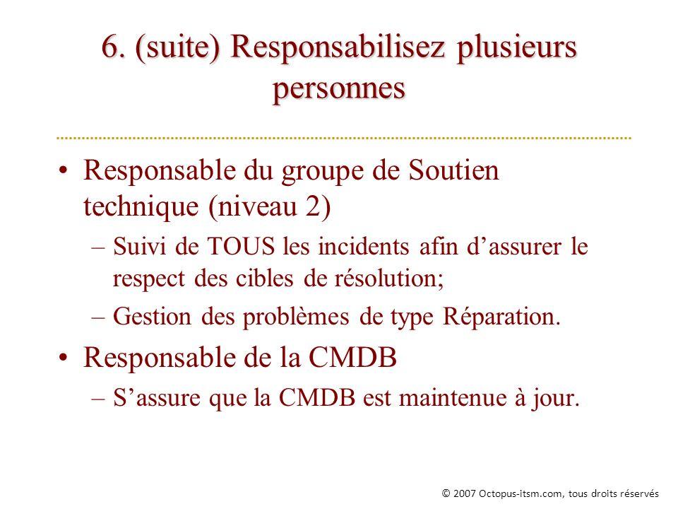 6. (suite) Responsabilisez plusieurs personnes Responsable du groupe de Soutien technique (niveau 2) –Suivi de TOUS les incidents afin dassurer le res