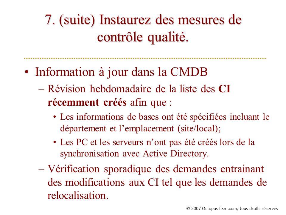 7. (suite) Instaurez des mesures de contrôle qualité. Information à jour dans la CMDB –Révision hebdomadaire de la liste des CI récemment créés afin q