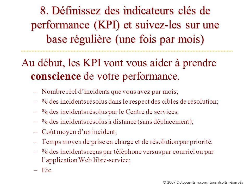 8. Définissez des indicateurs clés de performance (KPI) et suivez-les sur une base régulière (une fois par mois) Au début, les KPI vont vous aider à p