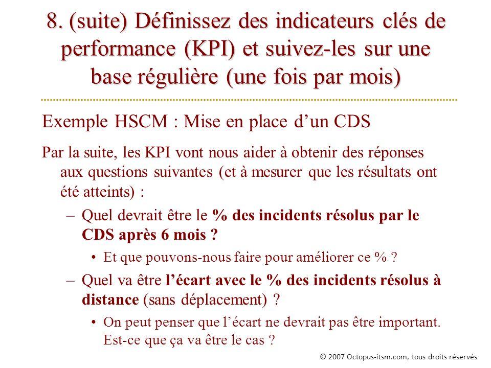 8. (suite) Définissez des indicateurs clés de performance (KPI) et suivez-les sur une base régulière (une fois par mois) Exemple HSCM : Mise en place