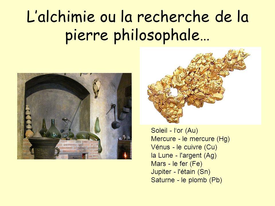 Lalchimie ou la recherche de la pierre philosophale… Soleil - lor (Au) Mercure - le mercure (Hg) Vénus - le cuivre (Cu) la Lune - l argent (Ag) Mars - le fer (Fe) Jupiter - l étain (Sn) Saturne - le plomb (Pb)