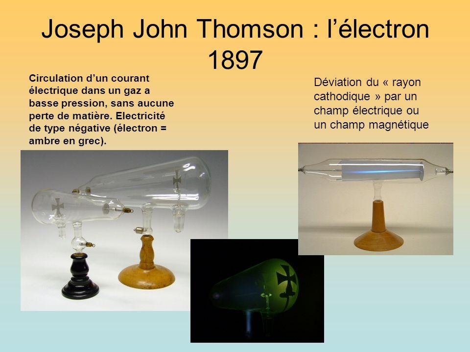 Joseph John Thomson : lélectron 1897 Circulation dun courant électrique dans un gaz a basse pression, sans aucune perte de matière. Electricité de typ