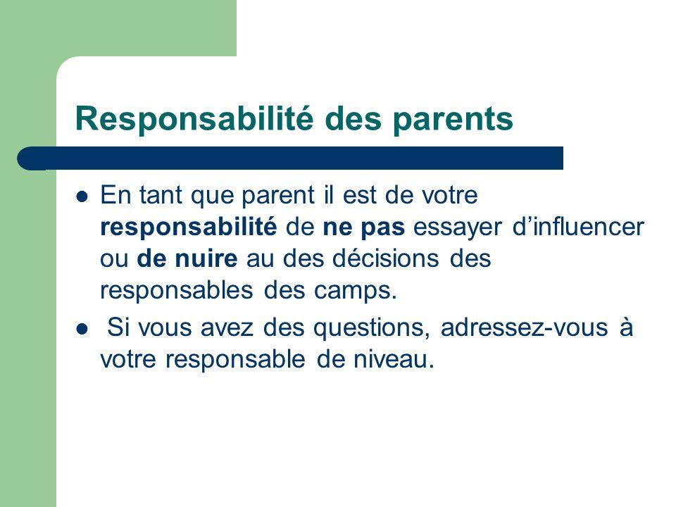 Responsabilité des parents En tant que parent il est de votre responsabilité de ne pas essayer dinfluencer ou de nuire au des décisions des responsables des camps.