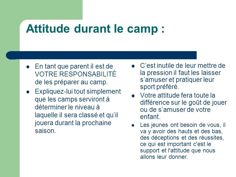 Attitude durant le camp : En tant que parent il est de VOTRE RESPONSABILITÉ de les préparer au camp.