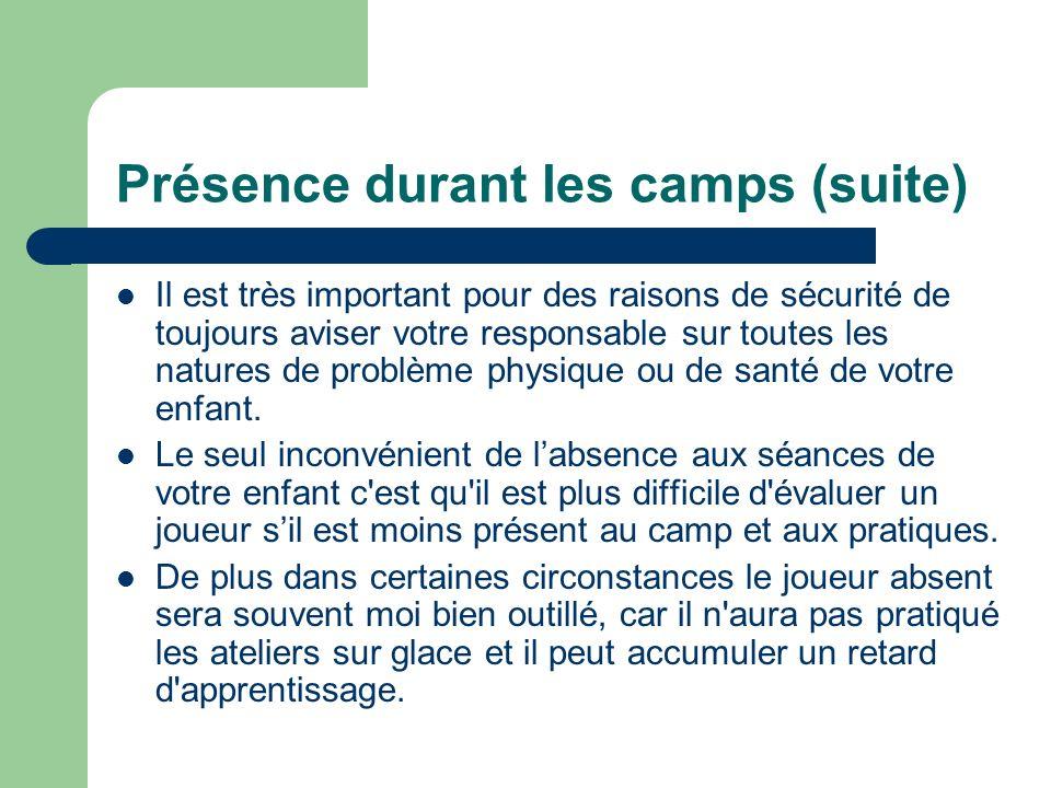 Présence durant les camps (suite) Il est très important pour des raisons de sécurité de toujours aviser votre responsable sur toutes les natures de problème physique ou de santé de votre enfant.