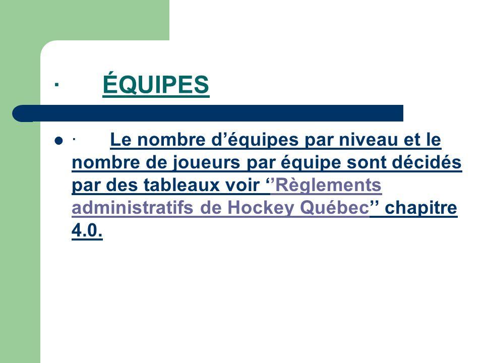 · ÉQUIPES · Le nombre déquipes par niveau et le nombre de joueurs par équipe sont décidés par des tableaux voir Règlements administratifs de Hockey Québec chapitre 4.0.Règlements administratifs de Hockey Québec