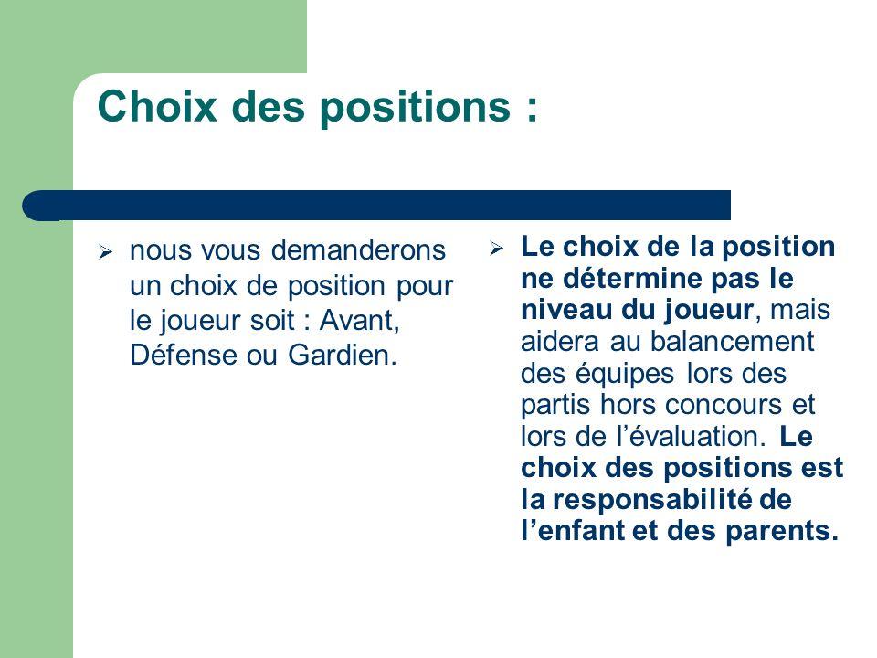 Choix des positions : La position, que les joueurs décident au début du camp, devra être gardée jusquà la fin.
