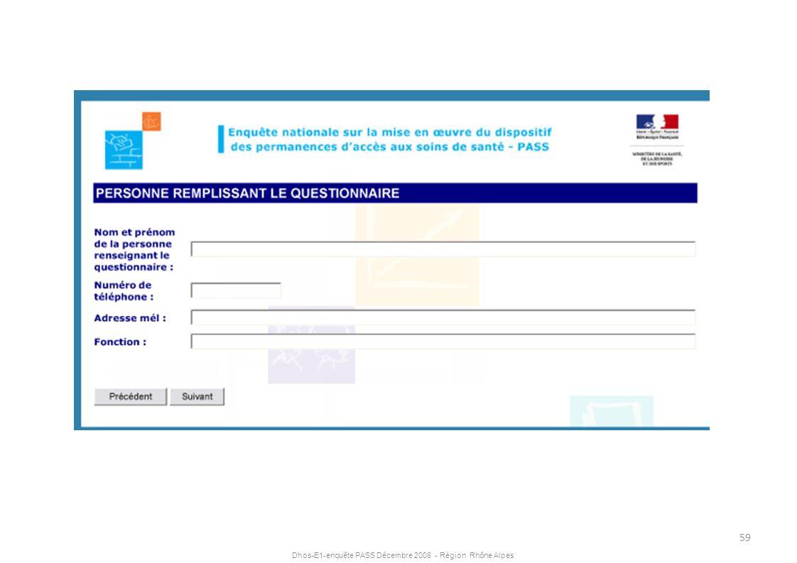 Dhos-E1-enquête PASS Décembre 2008 - Région Rhône Alpes 59