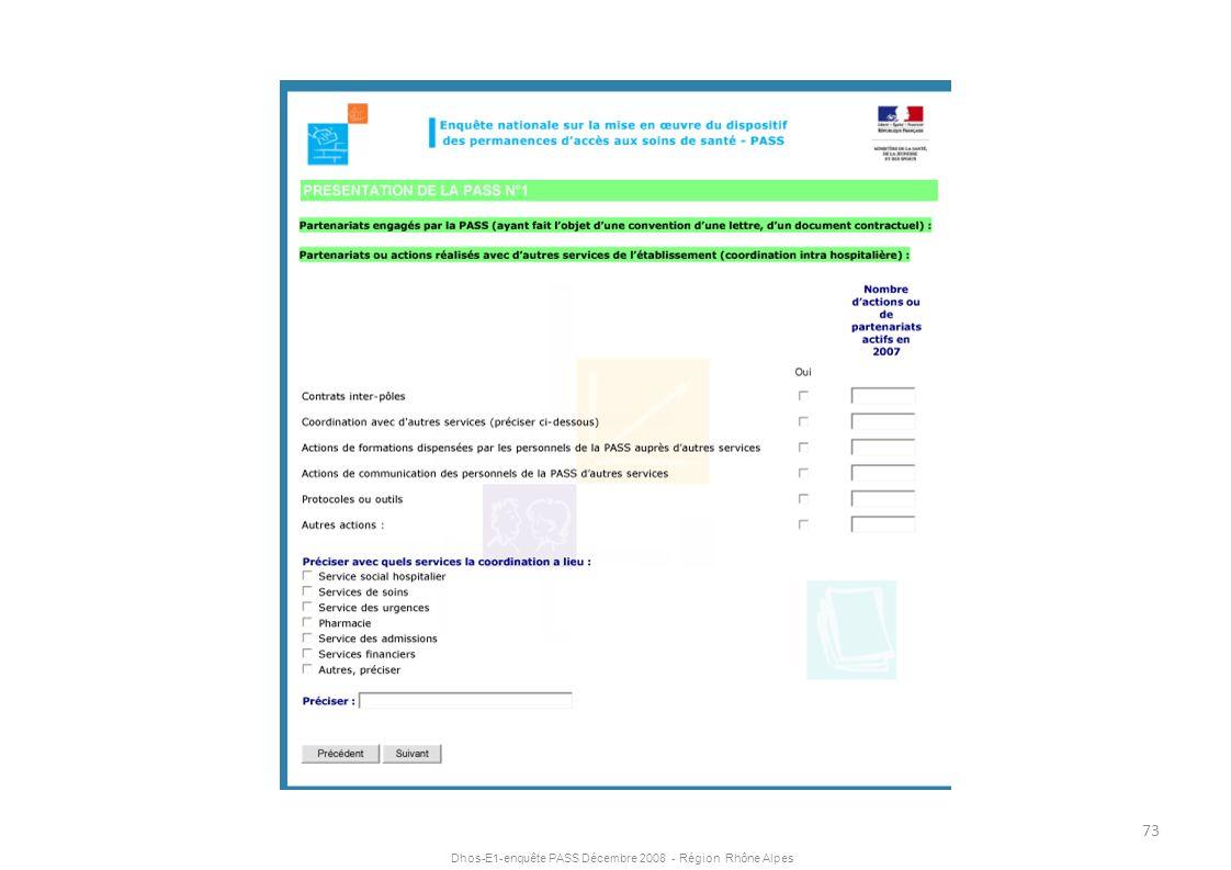 Dhos-E1-enquête PASS Décembre 2008 - Région Rhône Alpes 73