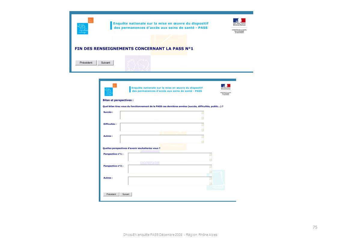 Dhos-E1-enquête PASS Décembre 2008 - Région Rhône Alpes 75