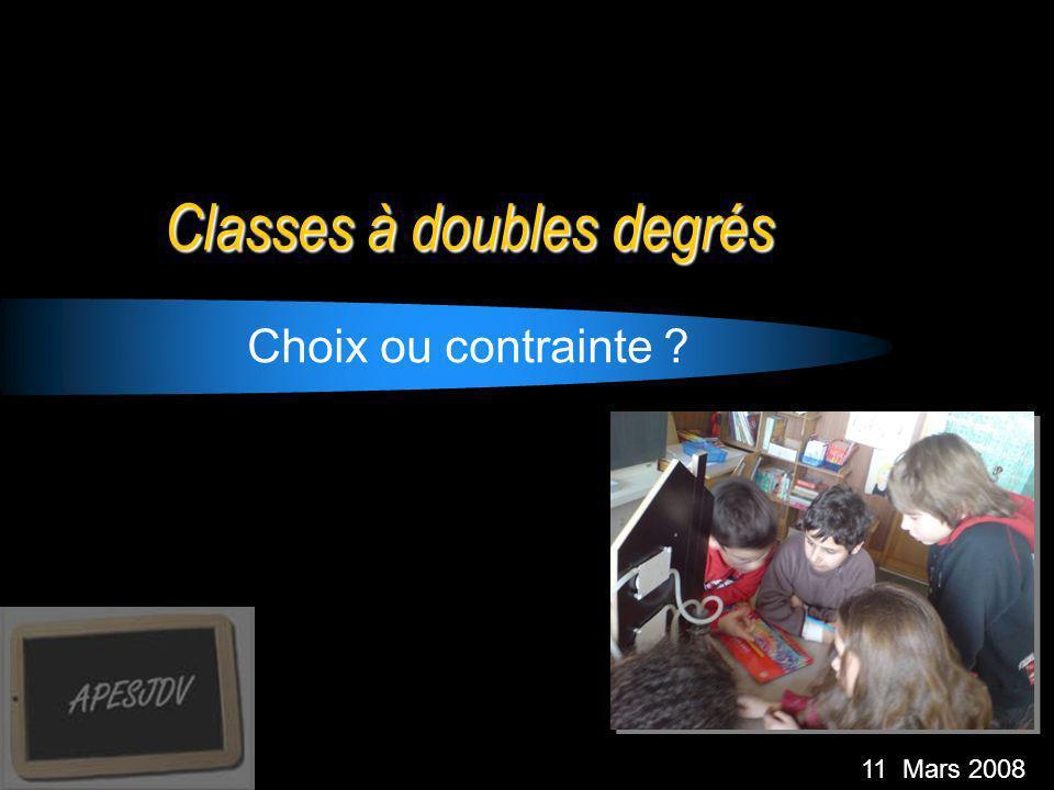 Classes à doubles degrés Choix ou contrainte ? 11 Mars 2008