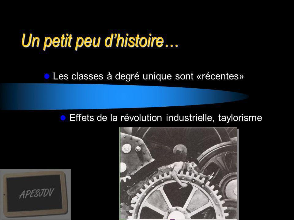 Un petit peu dhistoire… Les classes à degré unique sont «récentes» Effets de la révolution industrielle, taylorisme Une norme implicite et incontournable Classes à plusieurs degrés, quand il faut Une vaste enquête (Veenman 1996)
