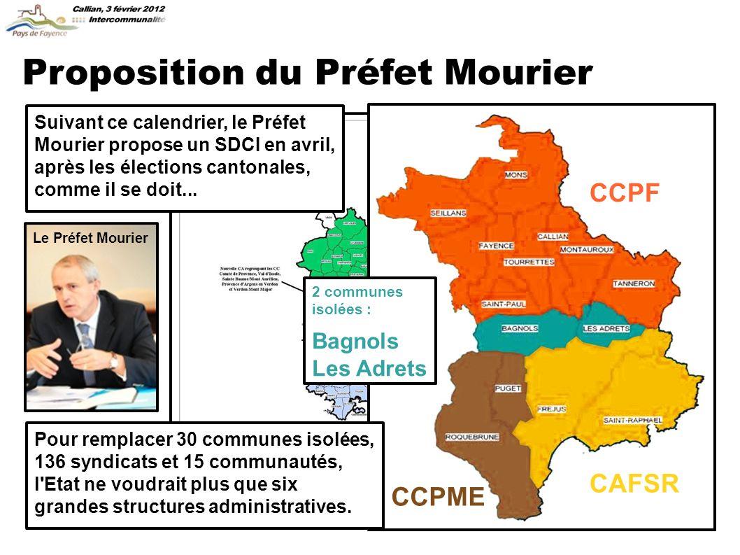 Proposition du Préfet Mourier Suivant ce calendrier, le Préfet Mourier propose un SDCI en avril, après les élections cantonales, comme il se doit...