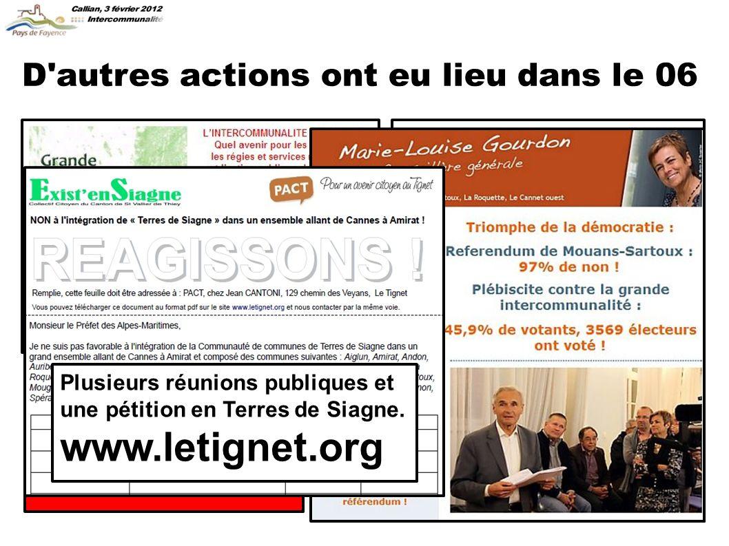 D autres actions ont eu lieu dans le 06 Plusieurs réunions publiques et une pétition en Terres de Siagne.
