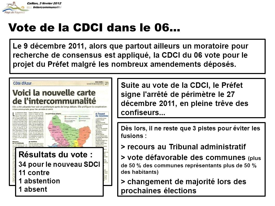 Vote de la CDCI dans le 06...