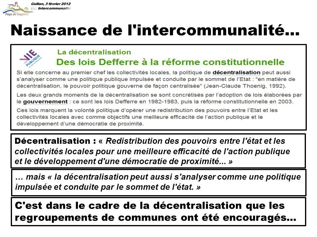 Naissance de l intercommunalité...
