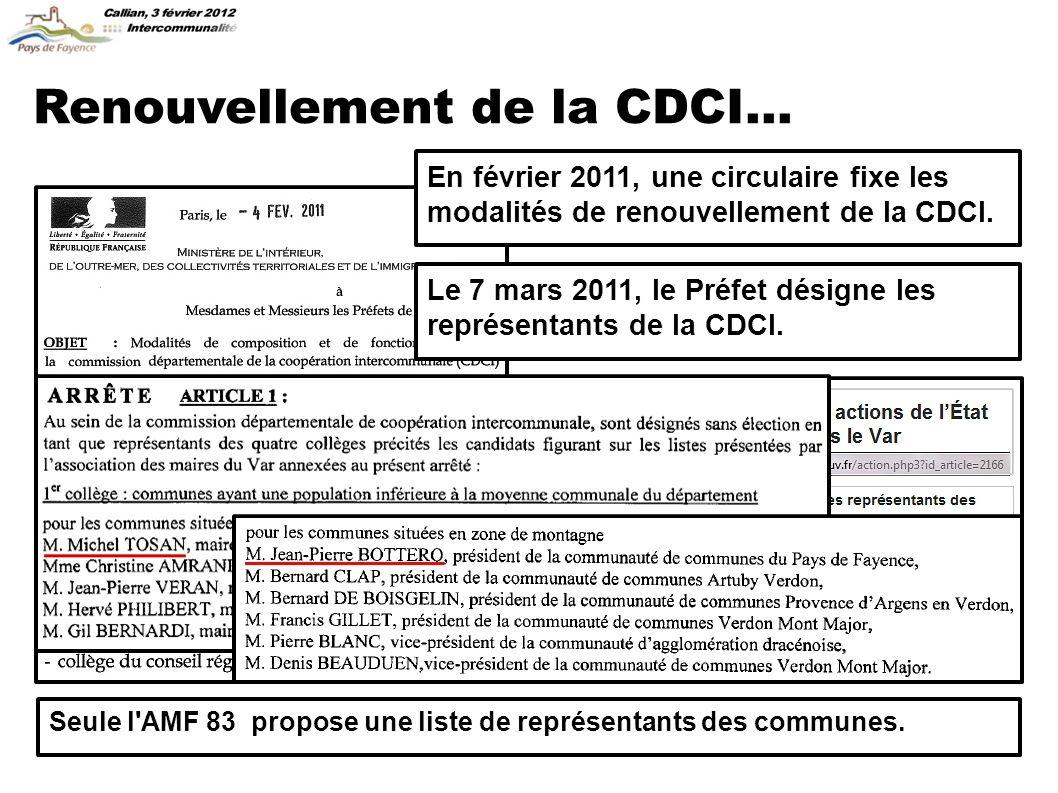 Renouvellement de la CDCI... Seule l AMF 83 propose une liste de représentants des communes.