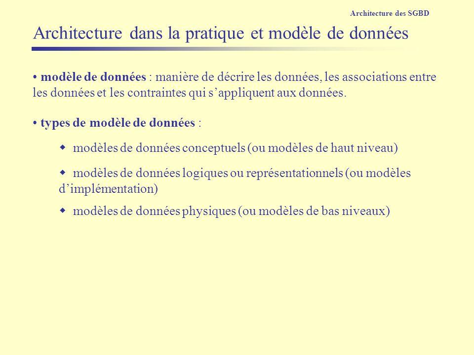 modèles de données conceptuels (ou modèles de haut niveau) modèle de données : manière de décrire les données, les associations entre les données et l