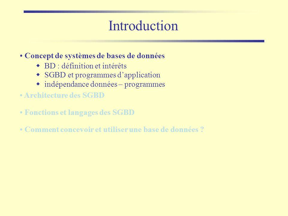 Introduction Concept de systèmes de bases de données BD : définition et intérêts SGBD et programmes dapplication indépendance données – programmes Arc