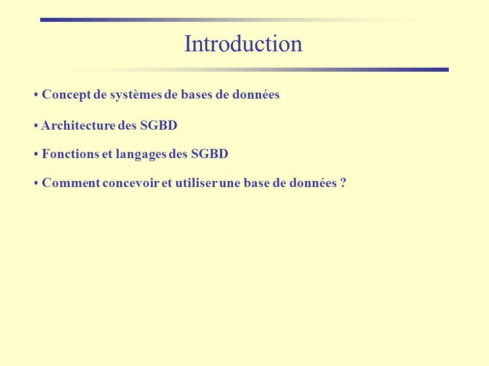Introduction Concept de systèmes de bases de données Architecture des SGBD Comment concevoir et utiliser une base de données ? Fonctions et langages d