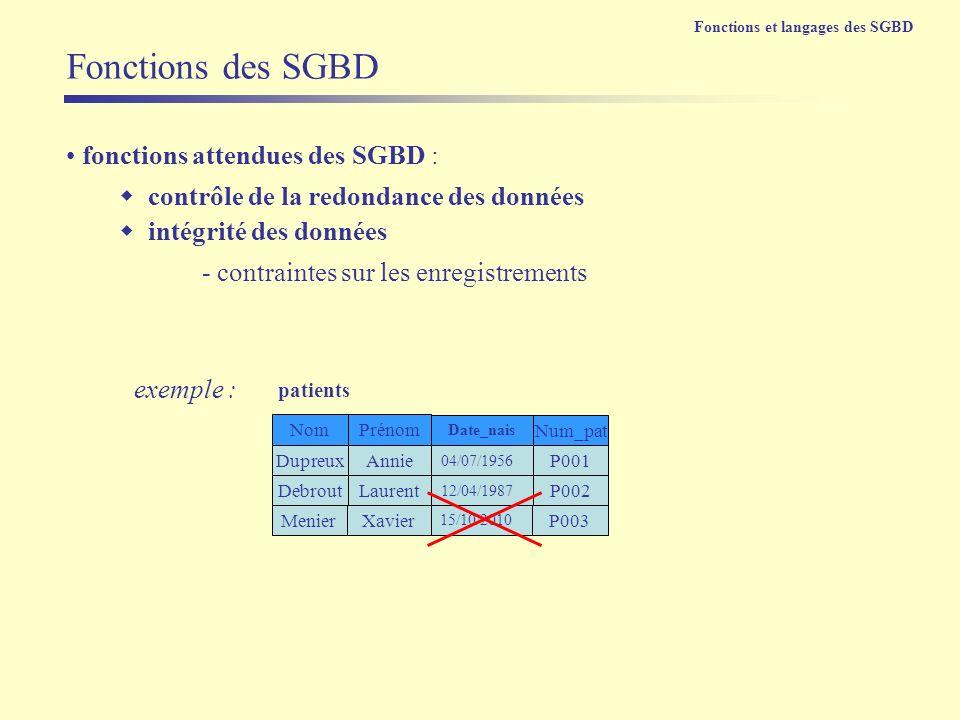 fonctions attendues des SGBD : contrôle de la redondance des données intégrité des données Fonctions des SGBD - contraintes sur les enregistrements Du