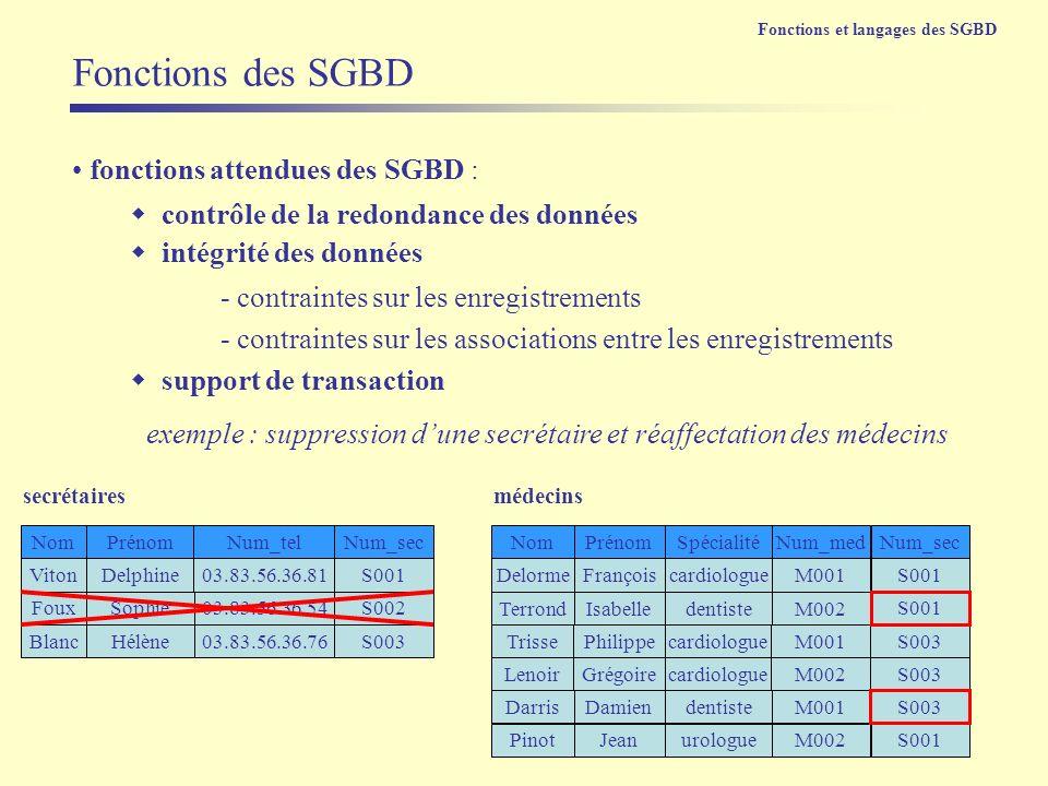 fonctions attendues des SGBD : support de transaction Fonctions des SGBD exemple : suppression dune secrétaire et réaffectation des médecins VitonDelp