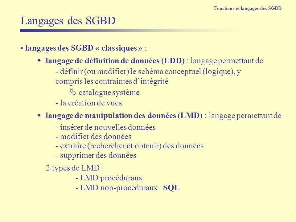 langages des SGBD « classiques » : langage de définition de données (LDD) : langage permettant de Langages des SGBD Fonctions et langages des SGBD - d