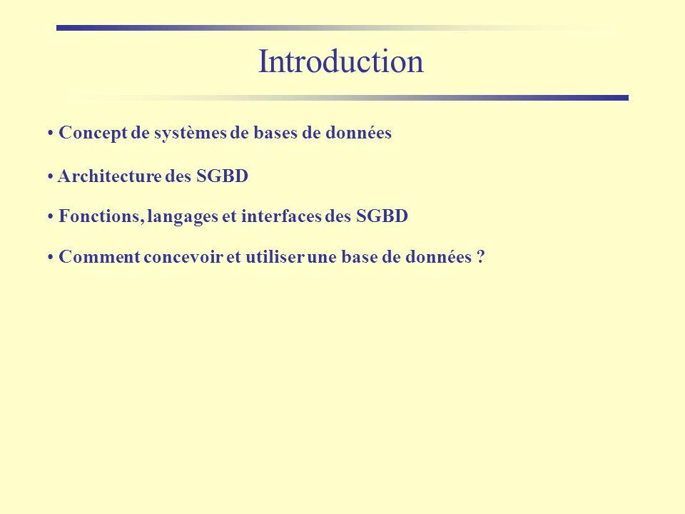 Introduction Concept de systèmes de bases de données Architecture des SGBD Comment concevoir et utiliser une base de données ? Fonctions, langages et
