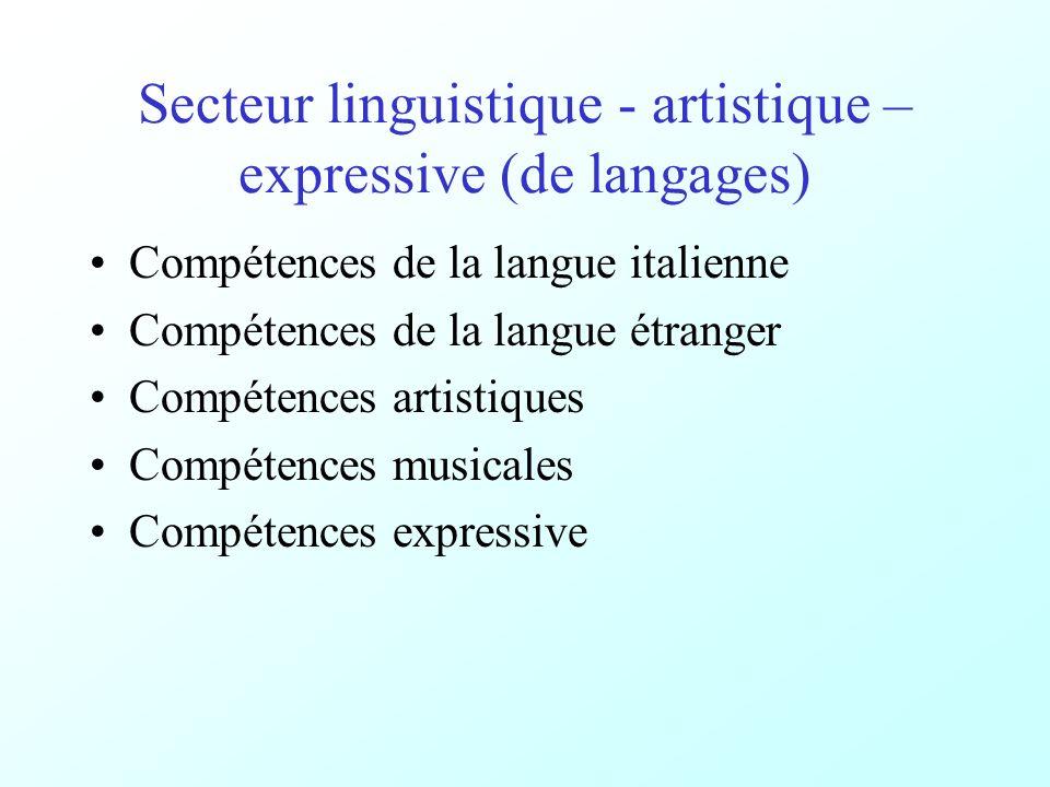 Secteur linguistique - artistique – expressive (de langages) Compétences de la langue italienne Compétences de la langue étranger Compétences artistiques Compétences musicales Compétences expressive