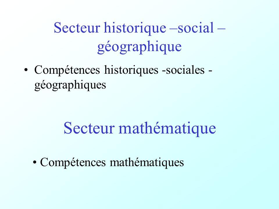 Secteur historique –social – géographique Compétences historiques -sociales - géographiques Secteur mathématique Compétences mathématiques