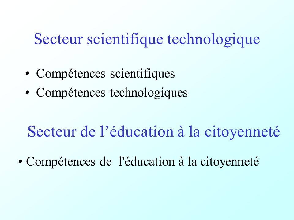 Secteur scientifique technologique Compétences scientifiques Compétences technologiques Secteur de léducation à la citoyenneté Compétences de l éducation à la citoyenneté