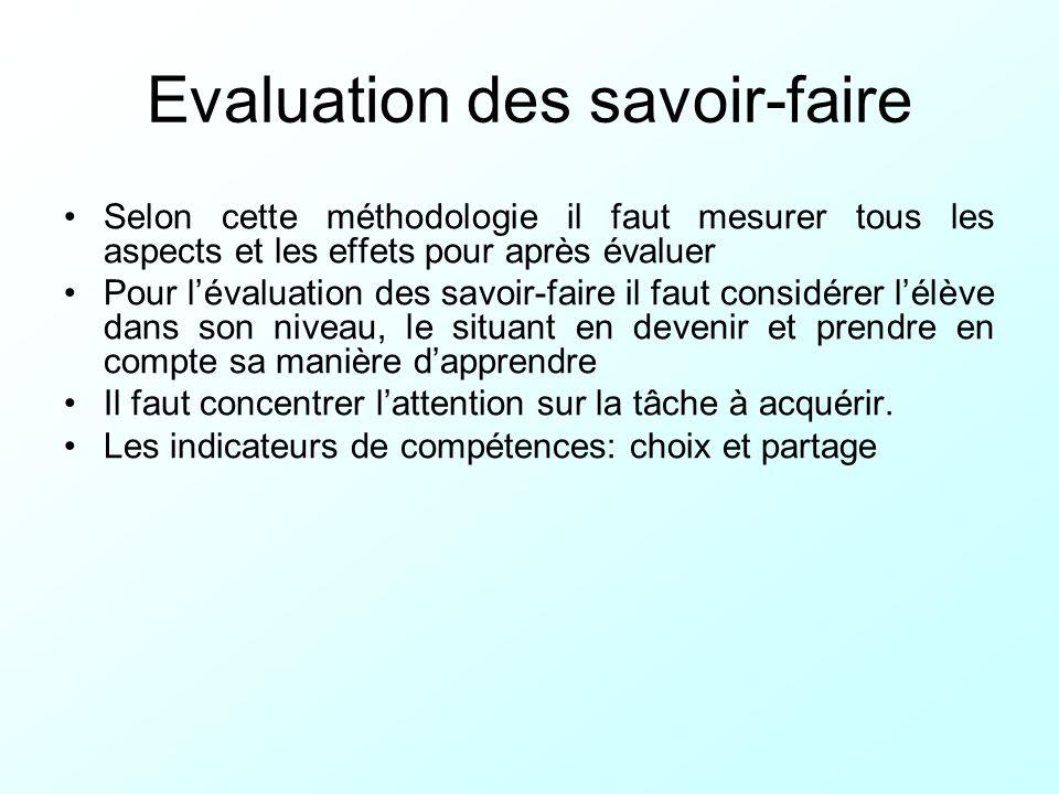 Evaluation des savoir-faire Selon cette méthodologie il faut mesurer tous les aspects et les effets pour après évaluer Pour lévaluation des savoir-fai